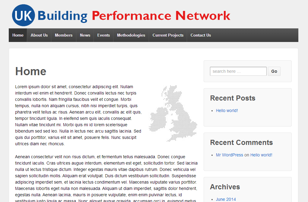 UK BPN example of wordpress website